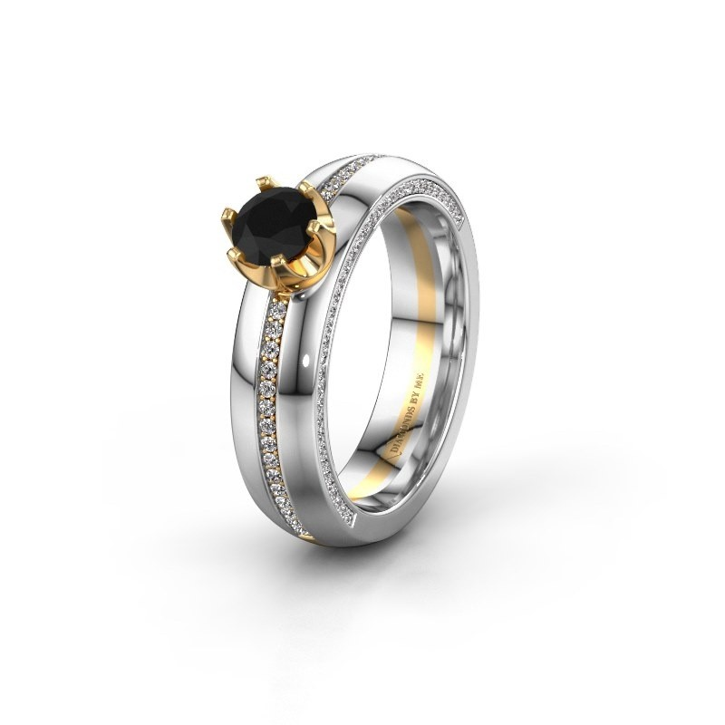 Weddings ring WH0416L25E 585 gold black diamond ±0.20x0.1in