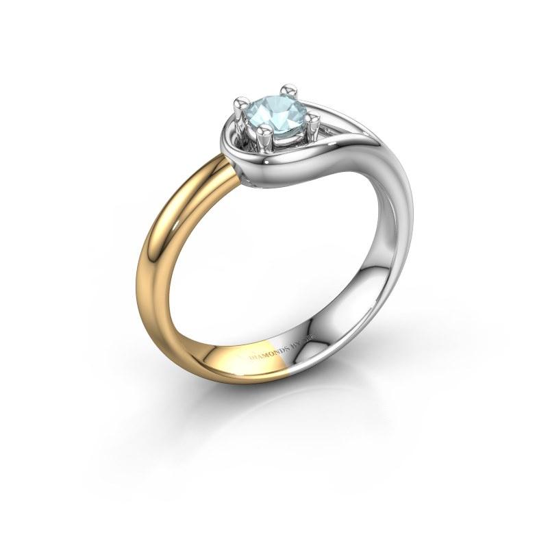 Ring Fabienne 585 witgoud aquamarijn 4 mm