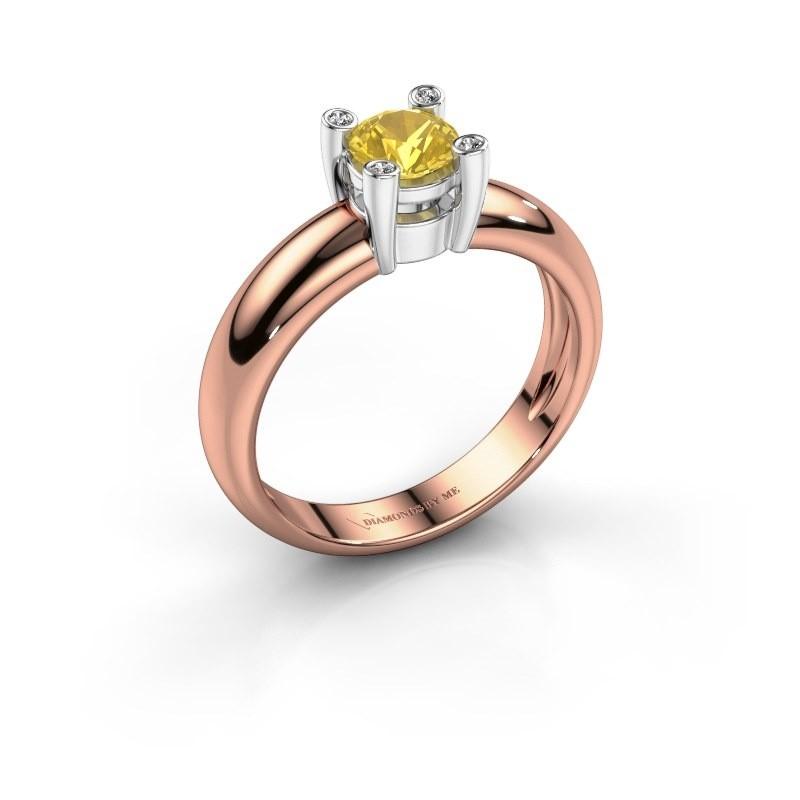 Ring Fleur 585 rosé goud gele saffier 4.7 mm