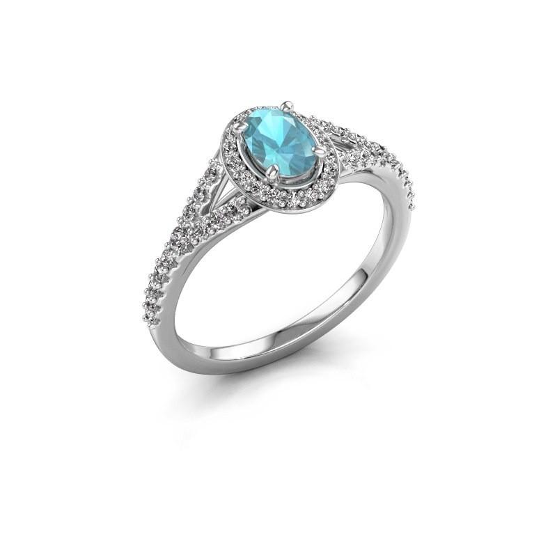 Belofte ring Pamela OVL 585 witgoud blauw topaas 7x5 mm
