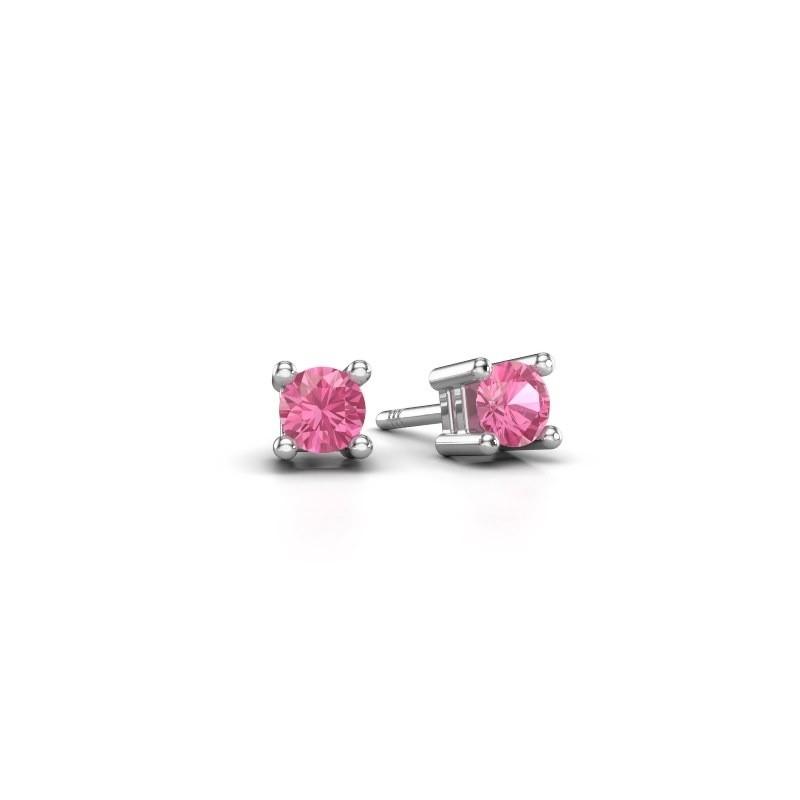 Oorknopjes Eline 950 platina roze saffier 4 mm