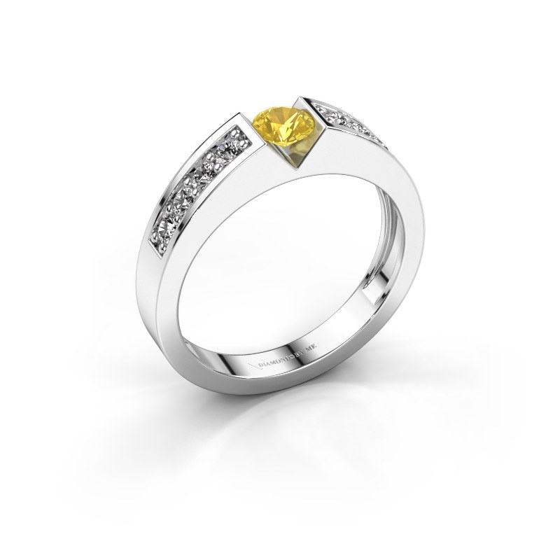 Engagement ring Lizzy 2 585 white gold yellow sapphire 4.2 mm