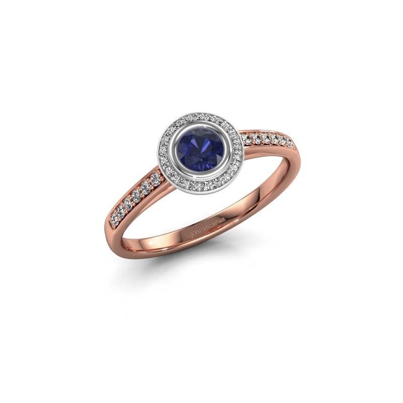 Engagement ring Noud 2 RND 585 rose gold sapphire 4 mm