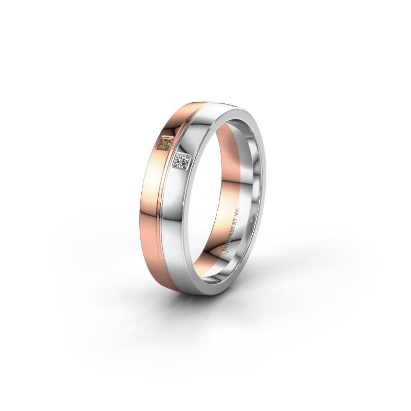 Trouwring WH0231L25BP 585 rosé goud bruine diamant ±5x2 mm
