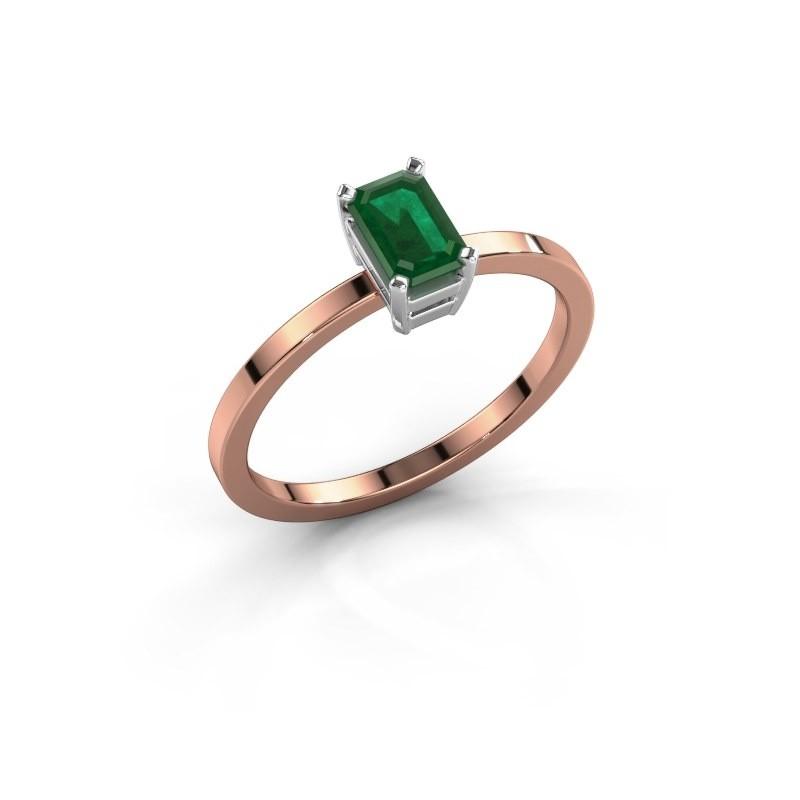 Verlovingsring Denita 1 585 rosé goud smaragd 6x4 mm