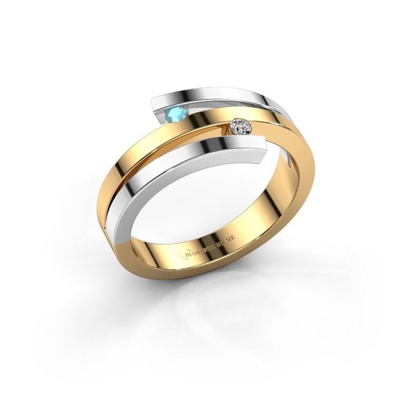 Ring Roxane 585 goud blauw topaas 2 mm