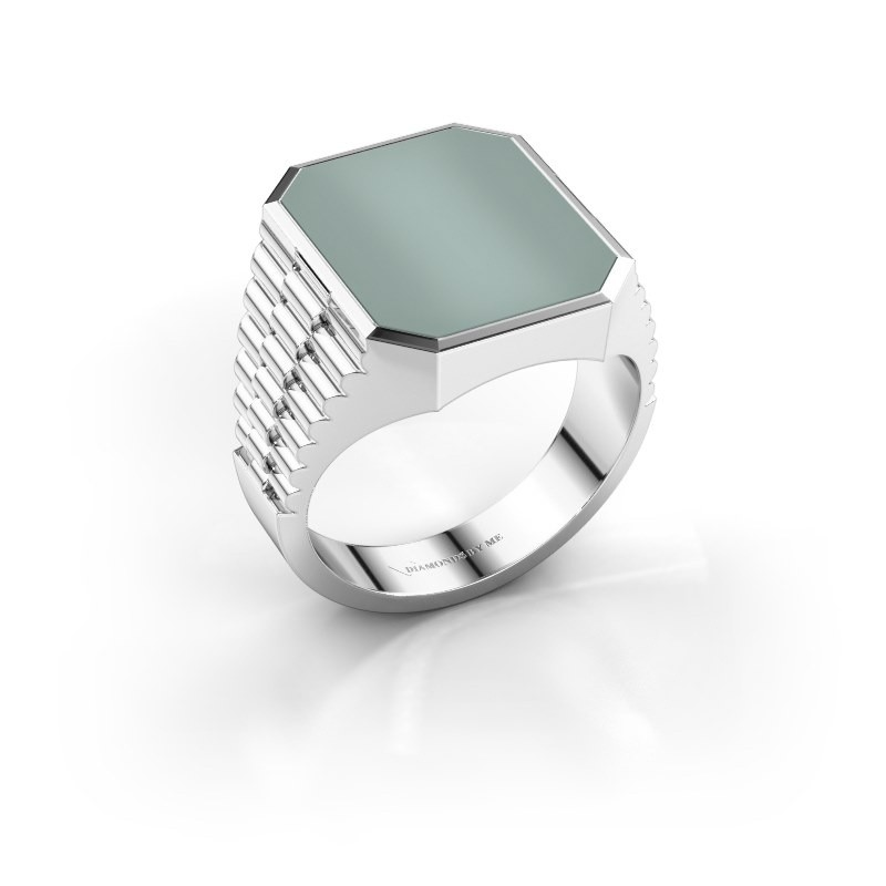 Rolex stijl ring Brent 4 950 platina groene lagensteen 16x13 mm