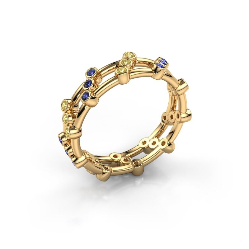 Ring Floortje 375 gold sapphire 1.4 mm