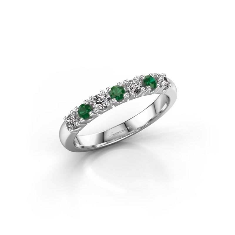 Engagement ring Rianne 7 585 white gold emerald 2.4 mm