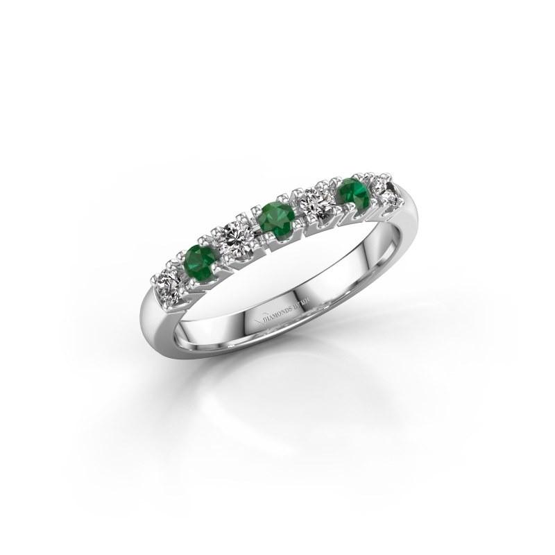 Belofte ring Rianne 7 585 witgoud smaragd 2.4 mm