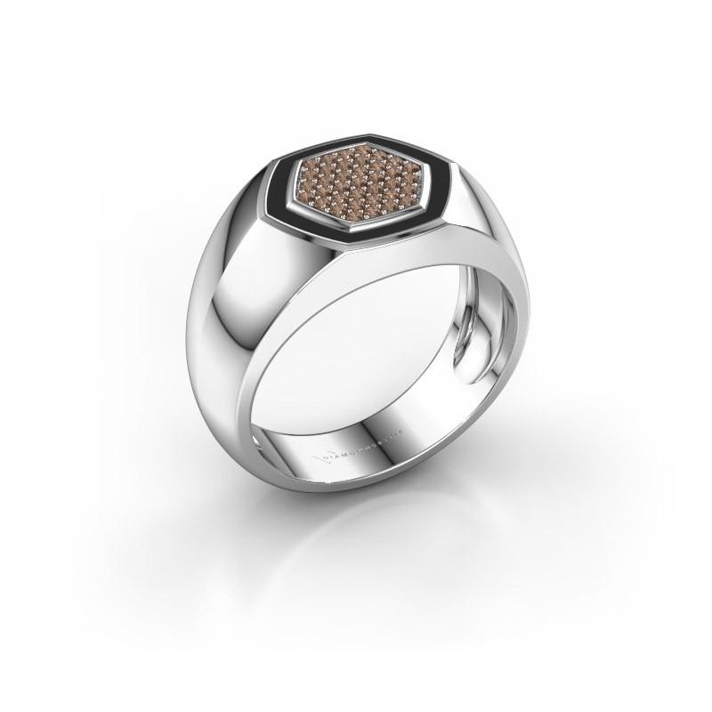 Heren ring Kris 925 zilver bruine diamant 0.248 crt