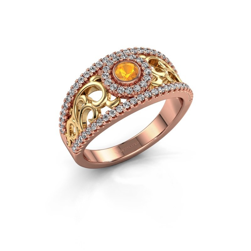 Ring Lavona 585 rosé goud citrien 3.4 mm