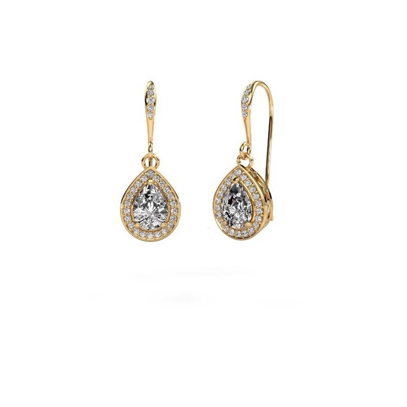 Drop earrings Beverlee 2 375 gold lab grown diamond 1.435 crt