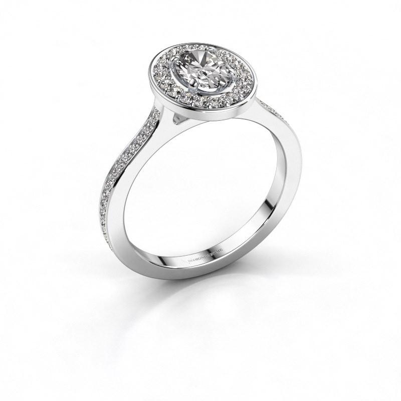 Ring Madelon 2 585 witgoud zirkonia 7x5 mm