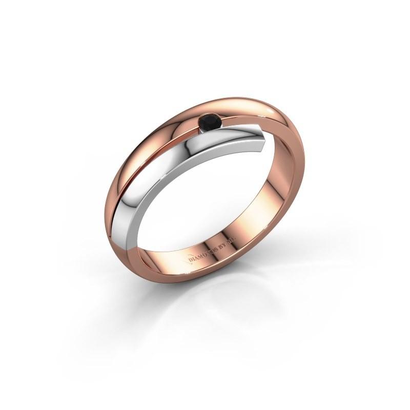 Ring Shela 585 rosé goud zwarte diamant 0.054 crt