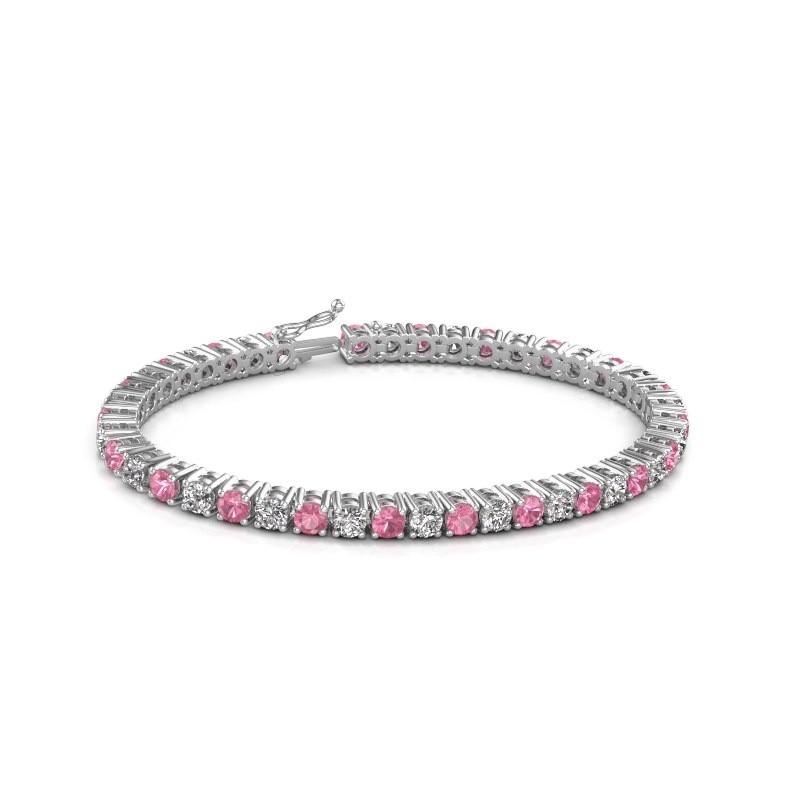 Tennis bracelet Karin 375 white gold pink sapphire 4 mm