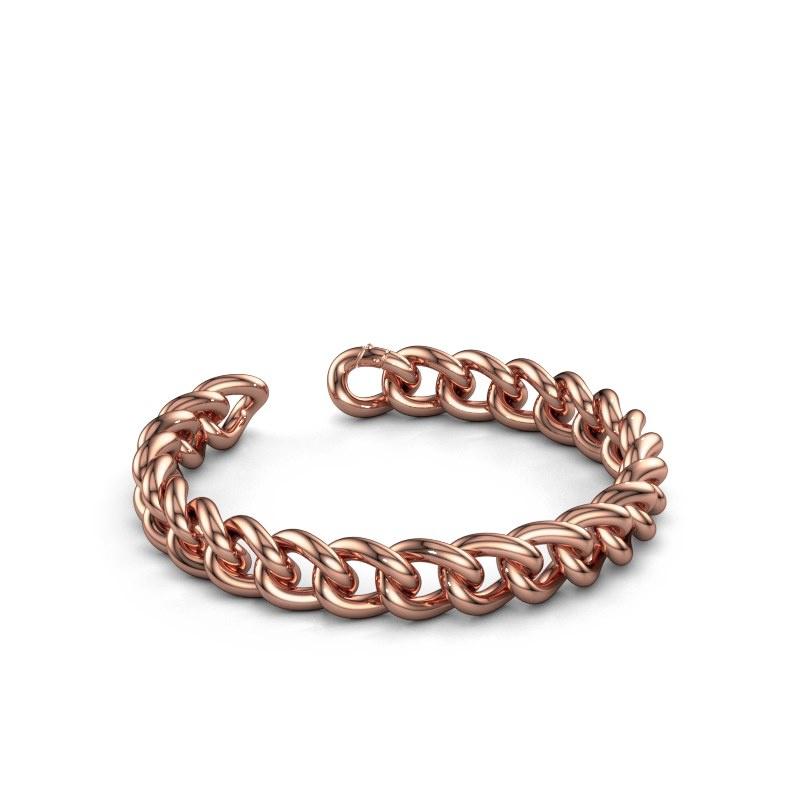 Cuban link armband ±10 mm 375 rosé goud