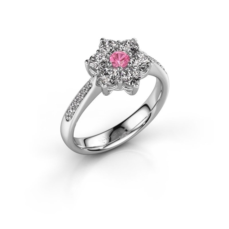 Verlovingsring Chantal 2 585 witgoud roze saffier 3 mm