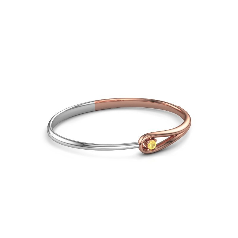 Slavenarmband Zara 585 rosé goud gele saffier 4 mm
