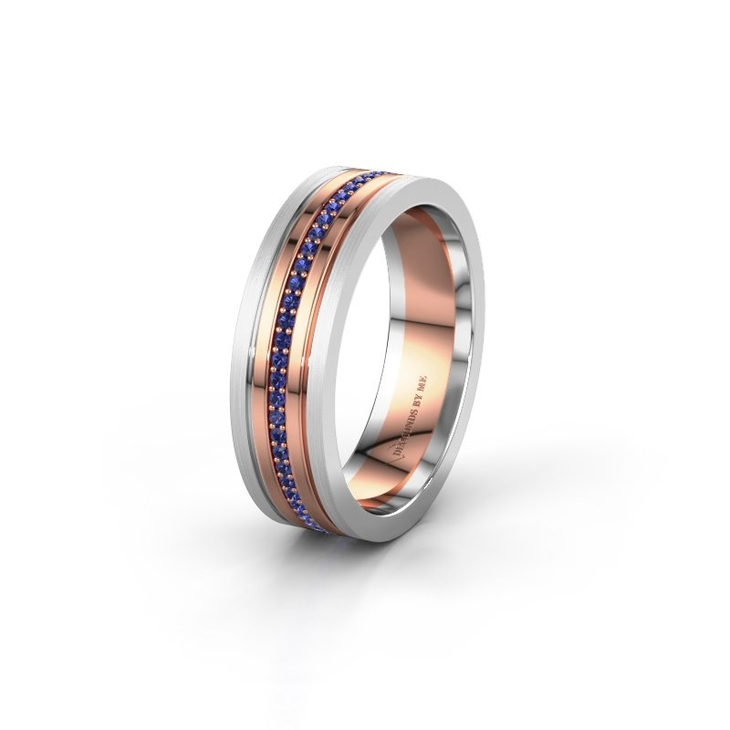 Wedding ring WH0404L16A 585 rose gold sapphire ±6x1.7 mm