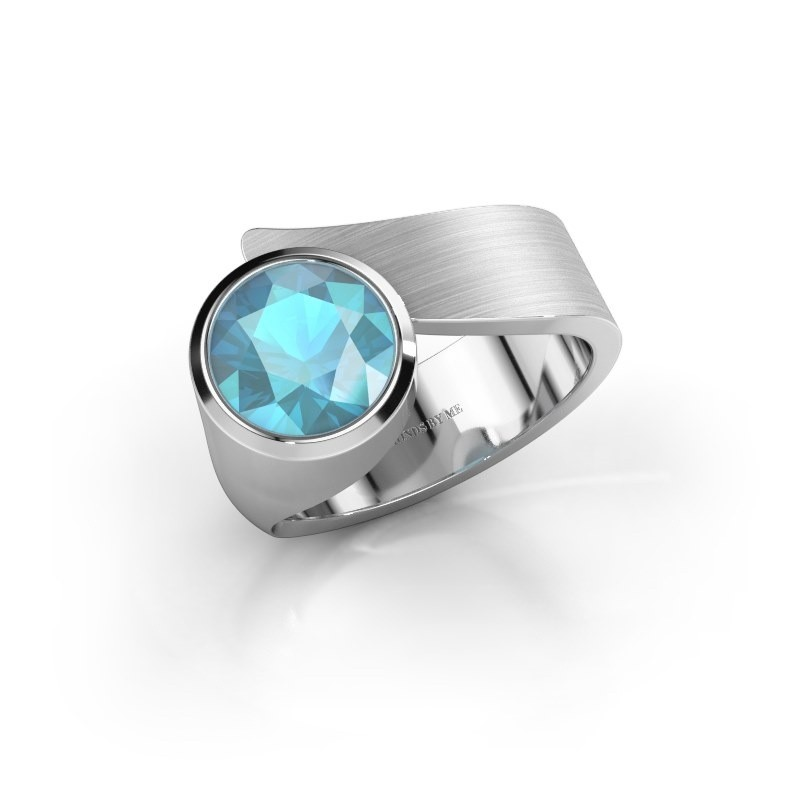 Ring Nakia 375 witgoud blauw topaas 8 mm