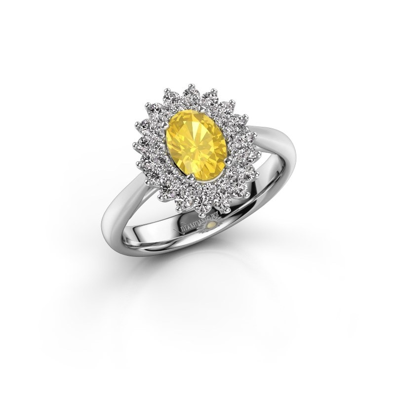 Engagement ring Alina 1 585 white gold yellow sapphire 7x5 mm