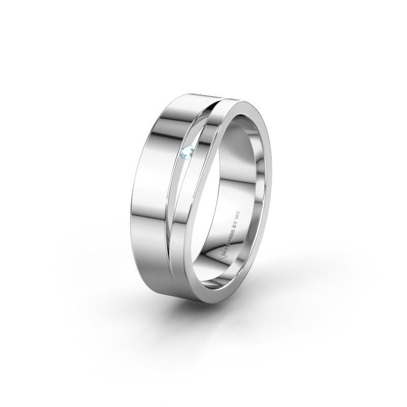 Trouwring WH6000L16AP 925 zilver aquamarijn ±6x1.7 mm