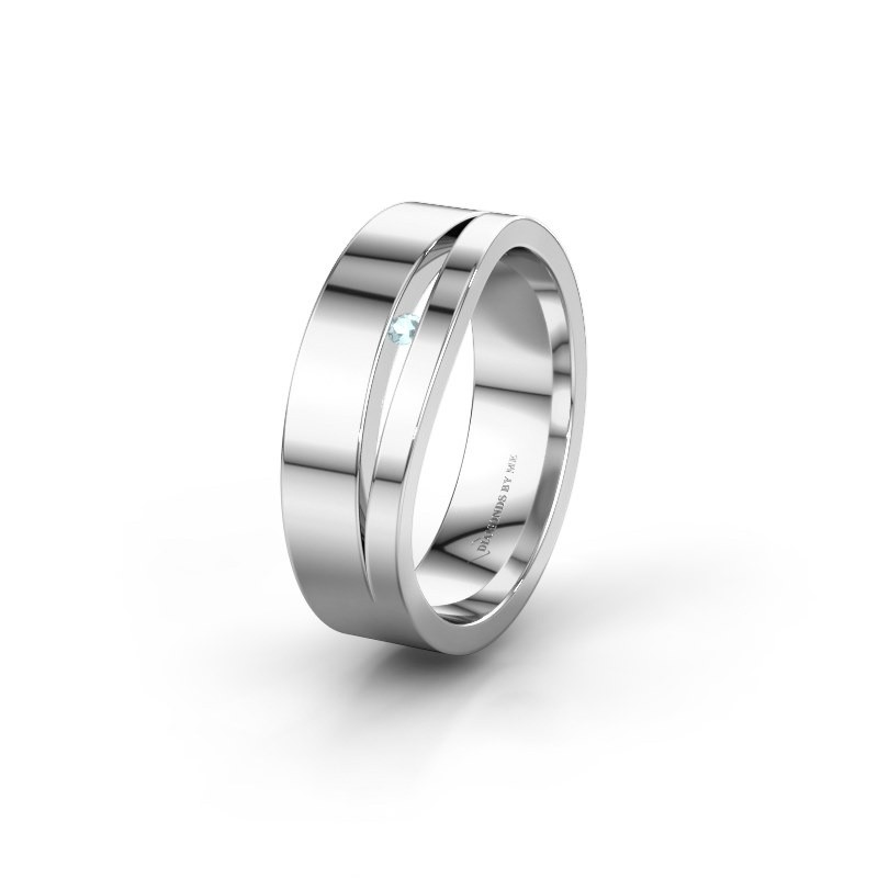 Wedding ring WH6000L16AP 925 silver aquamarine ±6x1.7 mm