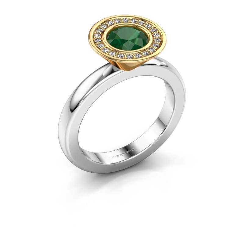 Stacking ring Danille 585 white gold emerald 6 mm