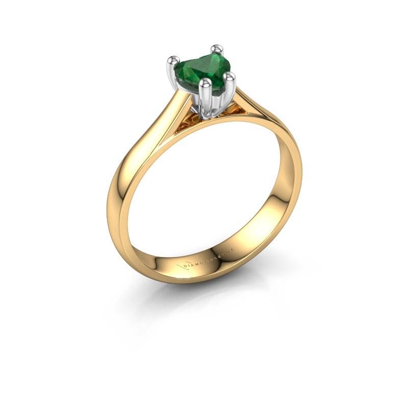 Engagement ring Sam Heart 585 gold emerald 5 mm