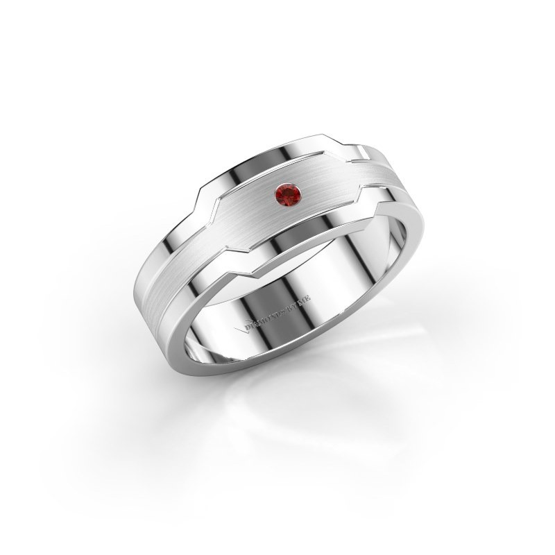 Men's ring Guido 950 platinum garnet 2 mm