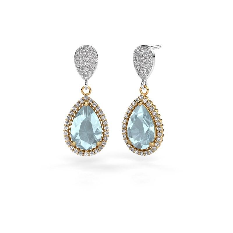 Drop earrings Cheree 2 585 gold aquamarine 12x8 mm