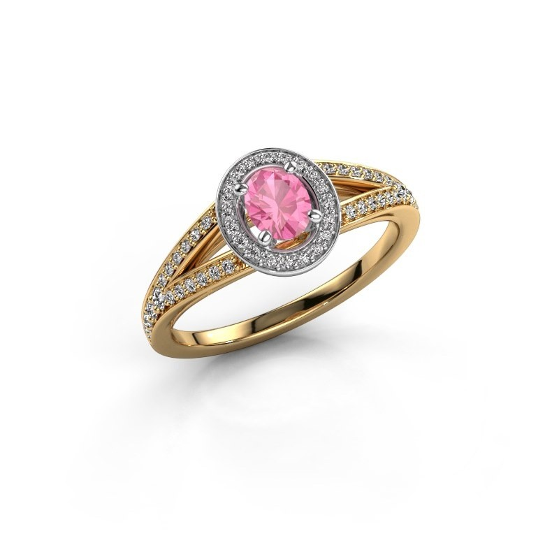Verlovings ring Angelita OVL 585 goud roze saffier 6x4 mm