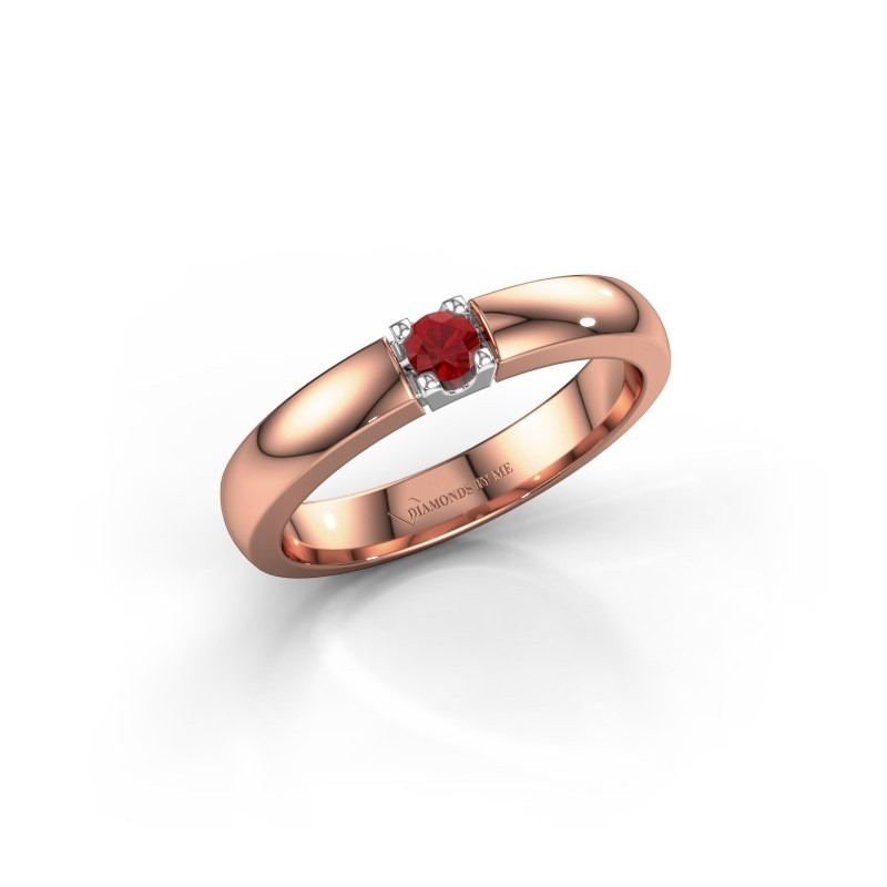 Engagement ring Rianne 1 585 rose gold ruby 3 mm