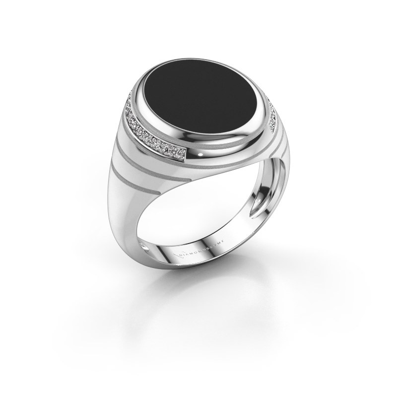 Chevalière Luuk 375 or blanc émail noir 15x12 mm