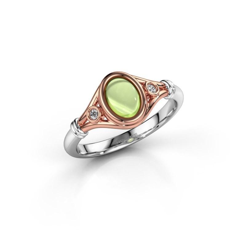 Ring Scarlett 585 rosé goud peridoot 7x5 mm