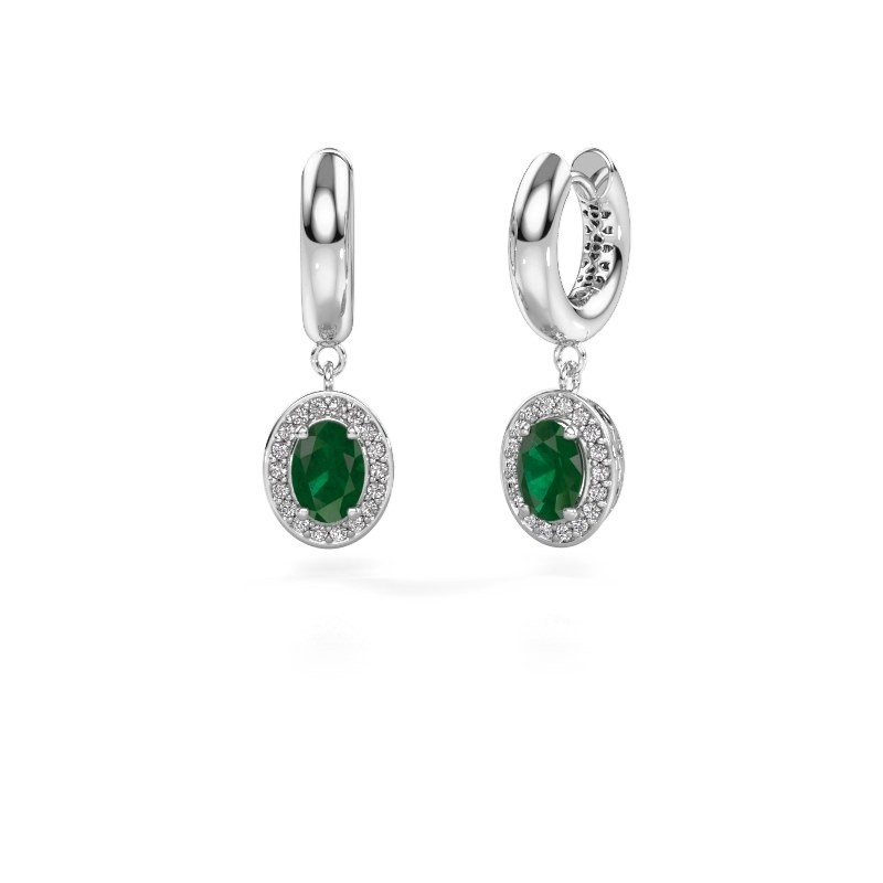 Drop earrings Annett 950 platinum emerald 7x5 mm