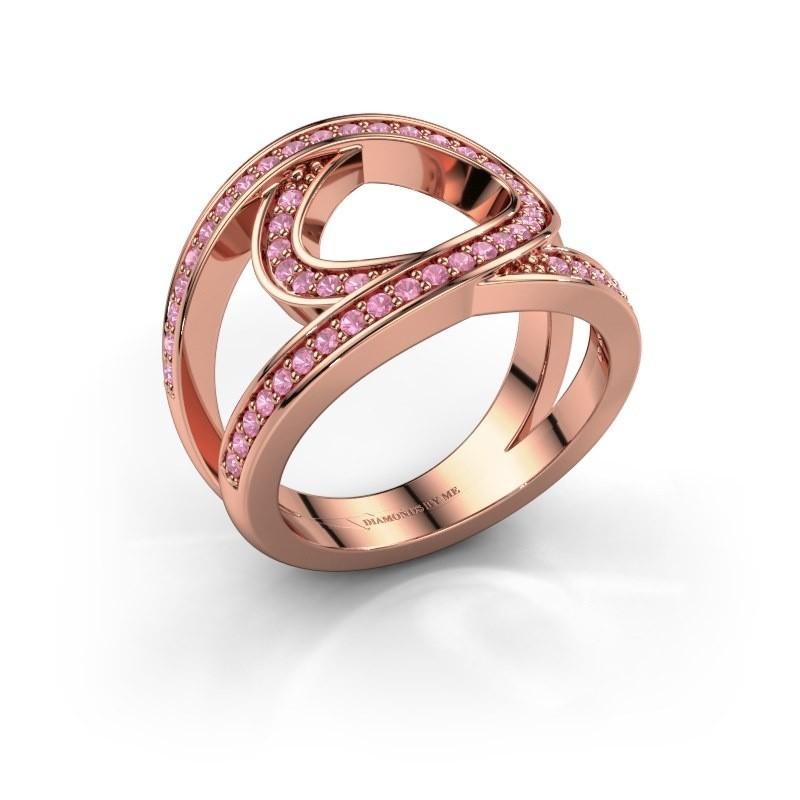 Ring Louise 375 rosé goud roze saffier 1.2 mm