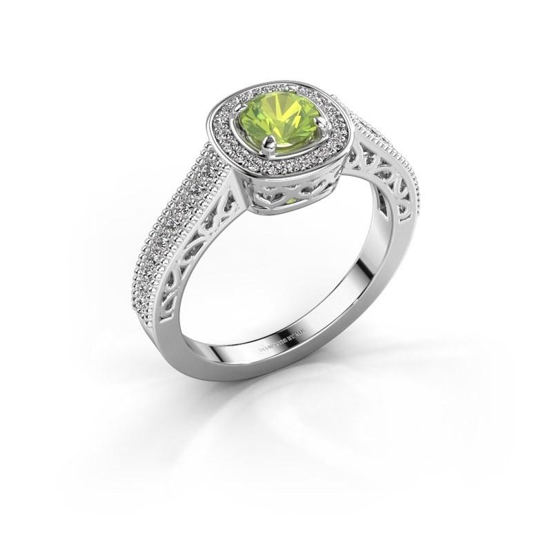 Verlovings ring Candi 585 witgoud peridoot 5 mm