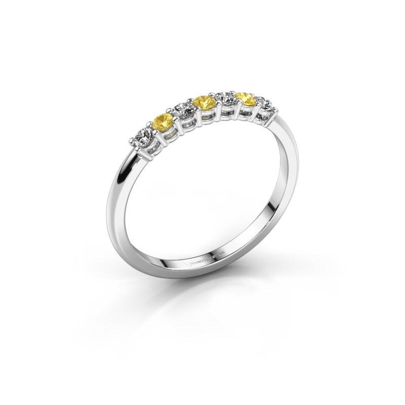 Verlovings ring Michelle 7 585 witgoud gele saffier 2 mm