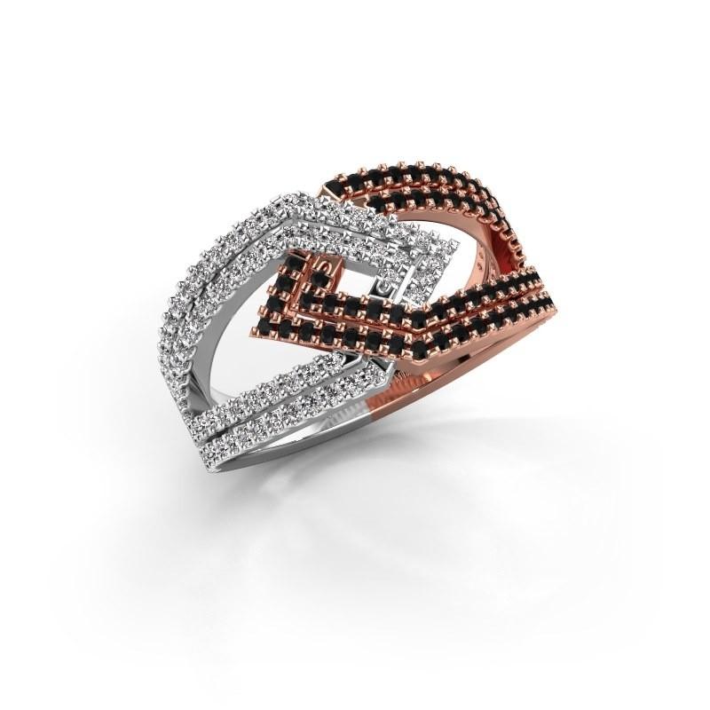 Ring Emanuelle 585 rosé goud zwarte diamant 0.836 crt