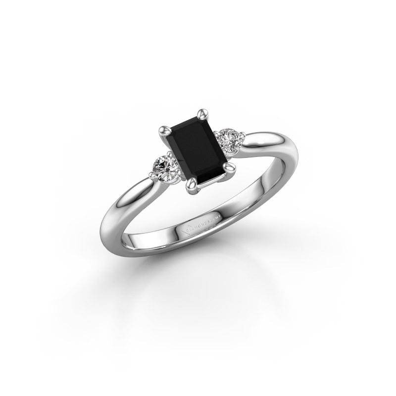 Verlovingsring Lieselot EME 950 platina zwarte diamant 0.900 crt