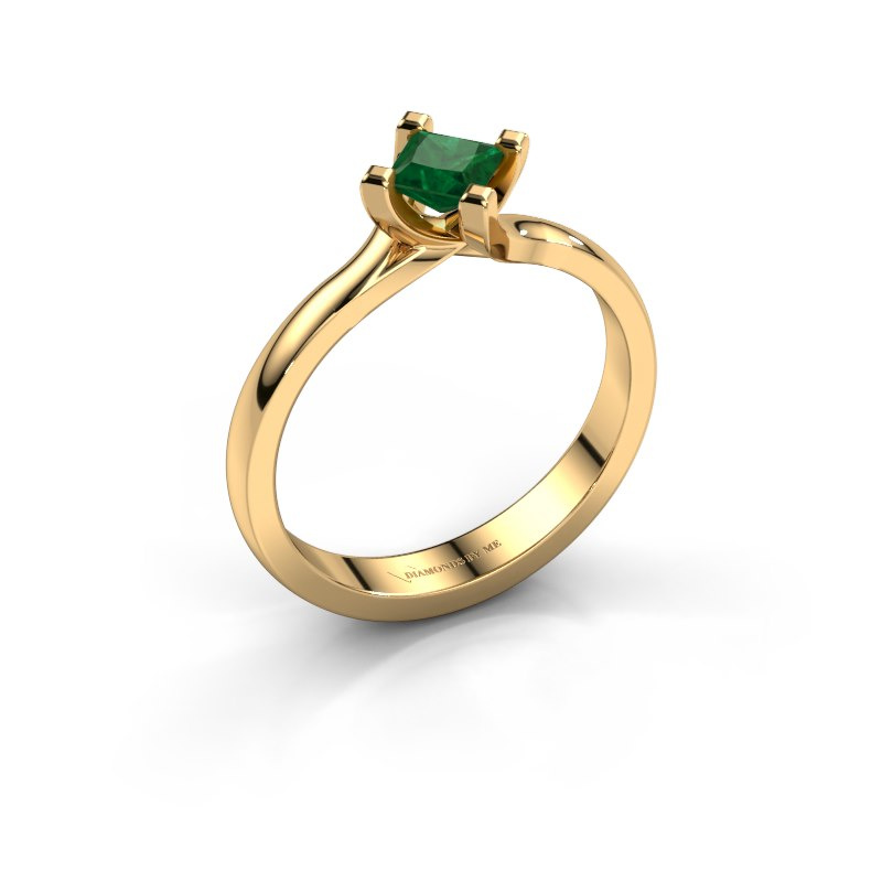 Engagement ring Dewi Square 585 gold emerald 4 mm