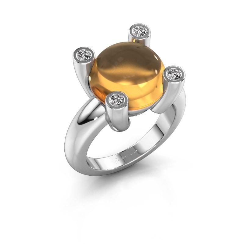 Ring Janice RND 950 platina citrien 12 mm