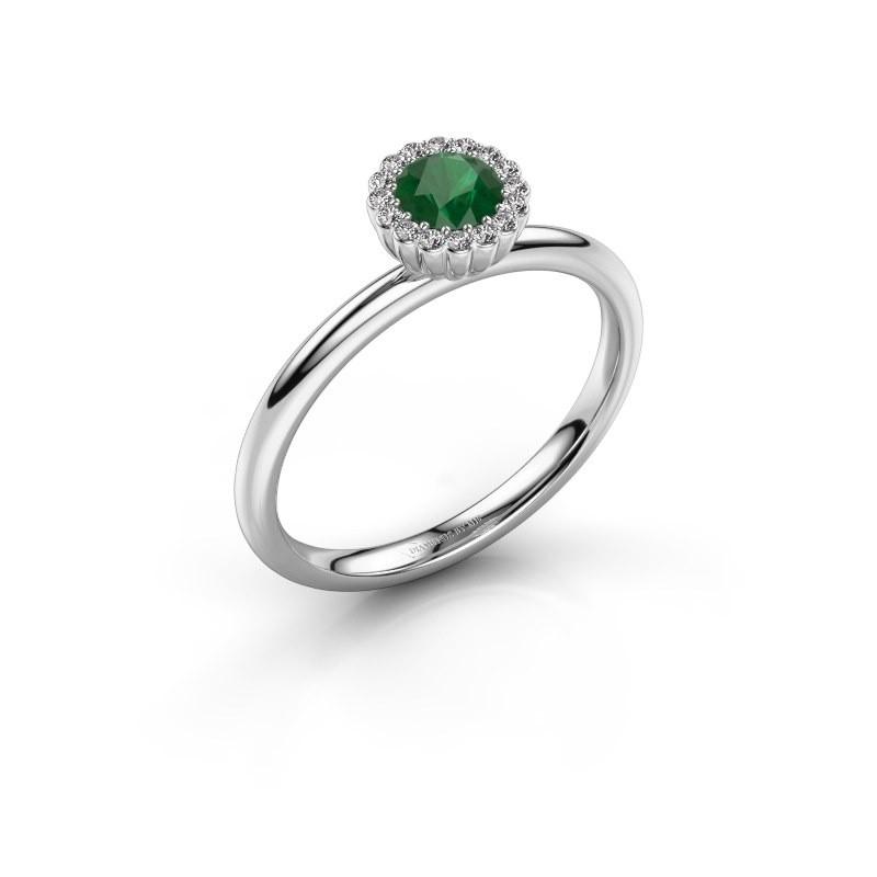Verlovingsring Queen 950 platina smaragd 4.2 mm