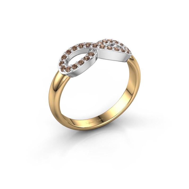 Ring Infinity 2 585 goud bruine diamant 0.188 crt