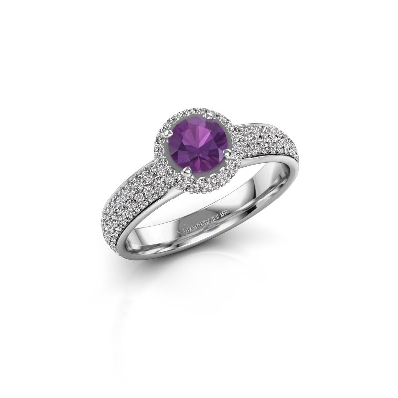 Engagement ring Mildred 925 silver amethyst 5 mm