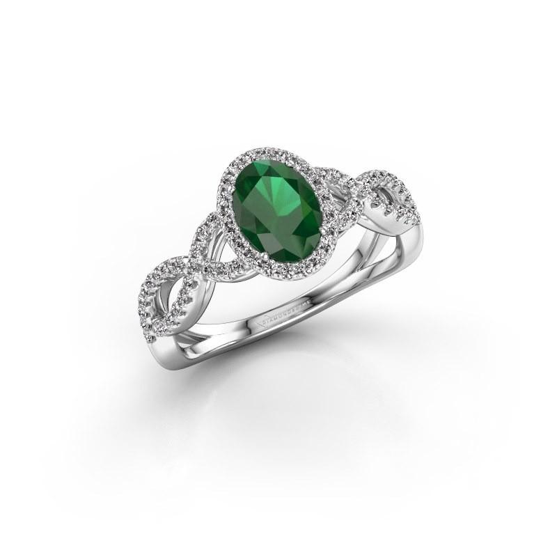 Verlovingsring Tanesha 585 witgoud smaragd 7x5 mm