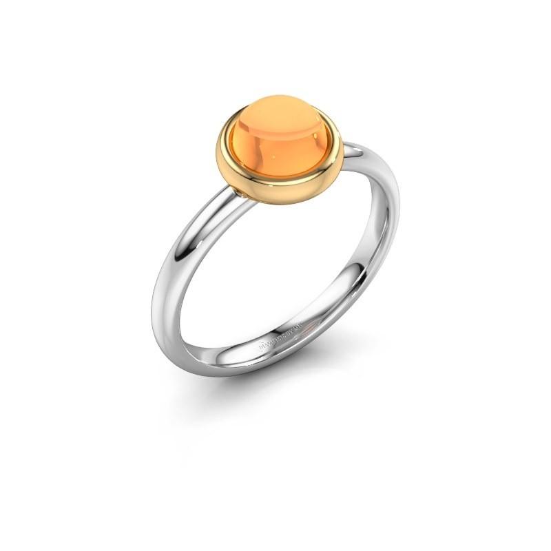 Ring Blossom 585 witgoud citrien 6 mm