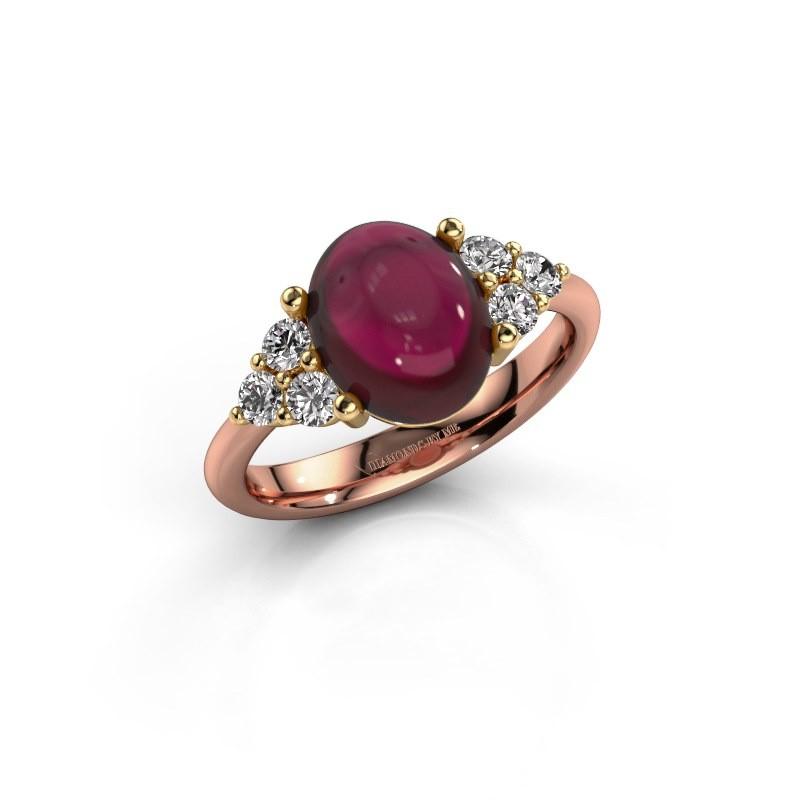 Ring Clarice 585 rosé goud granaat 10x8 mm